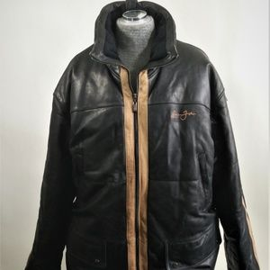 Sean John Men's Long Lamb Skin Leather Coat 4X